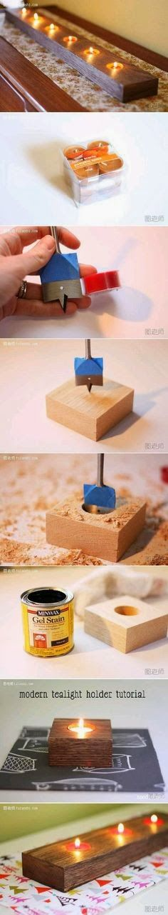 Photo Place: Modern tealight holder...I would do with piece of natural wood
