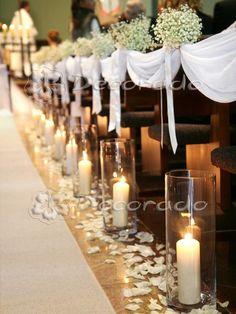The decor of the church in Suchy Las - a delicate plaster - Decoration eglise - Hochzeitsdeko Wedding Church Aisle, Church Wedding Flowers, Wedding Pews, Wedding Aisle Decorations, Church Ceremony, Wedding Themes, Wedding Centerpieces, Wedding Designs, Wedding Table