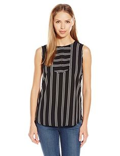 NYDJ Womens Sleeveless Striped Blouse Elaine Stripe Black XLarge *** Read more reviews of the product by visiting the link on the image.