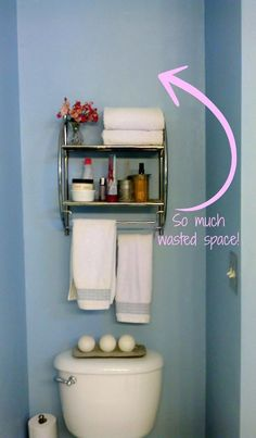 Diy toilet paper storage basket over the amazing bathroom shelves Bathroom Storage Over Toilet, Toilet Paper Storage, Above The Toilet Storage, Small Bathroom Shelves, Downstairs Toilet, Big Bathrooms, Amazing Bathrooms, Bathroom Showers, Storage Hacks