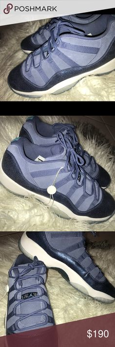 sale retailer 8c06e 92258 Jordan 11 lows Blue Jordan 11s with icy bottoms Jordan Shoes Sneakers  Jordan 11 Low Blue