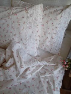 Pink Floral  Cotton  1 Duvet cover  with lace by LavenderStreet