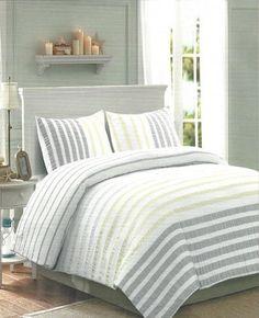 three 3piece nicole miller bedding light gray and yellow seersucker stripe comforter