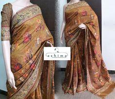 Code:1810171 - Price INR:8400/- , Digital Printed Moonga Tussar Saree.