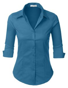 Womens Roll Up Sleeve Button Down Shirt with Stretch, XX-Large Lightweight fabric with stretch for comfort Button down placket Adjustable cuff sleeves Hand wash cold or dry clean Please look at the measurements below for guidance Shirts & Tops, Work Shirts, Shirt Blouses, Black Button Down Shirt, Button Up Shirts, Button Up Shirt Womens, Work Casual, Casual Office, 3 4 Sleeve Shirt