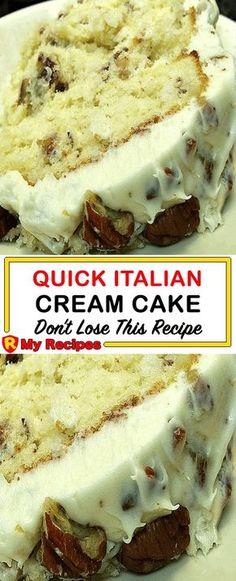 Quick Italian Cream Cake Recipe, Italian Cream Cakes, Italian Cake, Italian Cream Cheesecake Recipe, Italian Cupcakes, Italian Desert, Cake Mix Recipes, Baking Recipes, Dessert Recipes