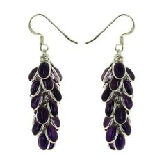 Gemstone Amethyst Cluster Earrings Indian Sterling Silver Jewelry Ethnic ShalinIndia. $67.88. Artisan handcrafted in India. Cluster of cabochon gemstone beads. Sterling silver 925. Size: Length: 1.75 Inches. Weight: 11 Gram. Save 40% Off!