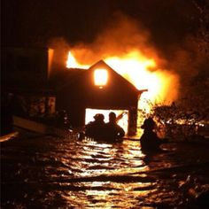 Babylon Fire Department on Long Island braves fire AND chest-deep water. Sandy.