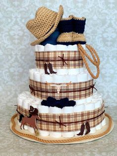 Baby Boy 3 tier Western Cowboy Diaper cake - an adorable diaper baby shower gift - made to order Boy Baby Shower Themes, Baby Boy Shower, Baby Shower Gifts, Baby Showers, Baby Gifts, Cowboy Baby Shower, Baby Boy Cowboy, Cowboy Diaper Cakes, Design Your Own Cake