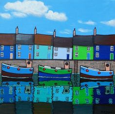 "Saatchi Art is pleased to offer the painting, ""Sea Twice SOLD,"" by Paul Bursnall. Original Painting: Acrylic on N/A. Easy Canvas Painting, Painting & Drawing, Watercolor Paintings, Seaside Art, Trash Art, House Drawing, Naive Art, Selling Art, Whimsical Art"