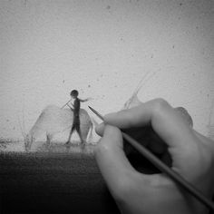 """Indonesian artist Elicia Edijanto creates tranquil black & white paintings featuring the close relationship of a kid with animals and his environment. From her website: """"Nature inspires me a lot. My hope is that, my art will serve their purposes, remind us of how is human-nature relationship supposed to be, beautiful, harmonious, and living side by side. Using only black watercolour (mostly), I try to create unique relationships between humans and nature. My subject are often child..."""