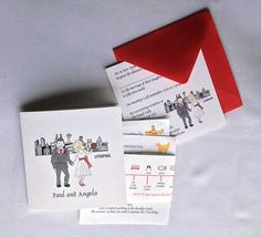 Bespoke themed wedding stationery, invitations, save the date, favour boxes, RSVP, wedding order of service, kids packs table names, place settings and  table plans