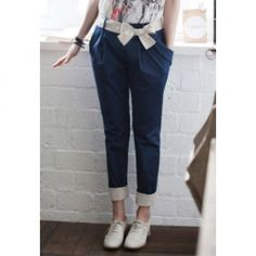 New Style Slimming Solid Color Cotton Blend Harem Pants For Women