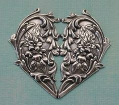 Ornate Silver Heart 1112 by charmparfait on Etsy, $5.00