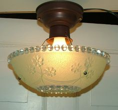Antique Glassware | Vintage Antique Glass Hanging Ceiling Light Shade by AnnsLights