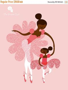 ballerina mother and daughtersisters. african by ThePaperNut