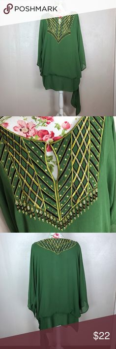 Green Bob Mackie wearable art top Bob Mackie wearable art. Size 2X. Excellent condition. This is a consignment item. Bob Mackie Tops Blouses