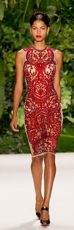 Naeem Khan cherry red lace dress - Spring RTW 2014.