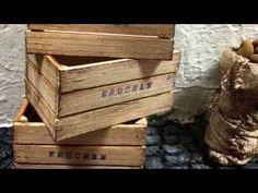 Como hacer Cajas de Madera miniatura para verduras y frutas. Huacales miniatura . Miniature crates - YouTube