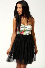 Laura Bandeau Net Skirt Dress