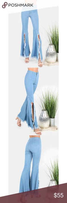 High Waisted Light Wash Torn Flared Jeans Brand new without tags, light wash with bell bottom flared leg slit up the front to reveal your feet and shins. NO TRADES. Measurements: Medium Thigh: 19 in Hip size: 32 in Waist: 25-30 in Length: 42 in Jeans Flare & Wide Leg