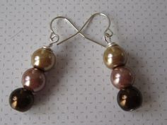 Triple Choc Dangle Drop Bridal Pearl Earrings by ScarlettRose. $10.00, via Etsy.