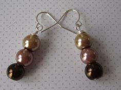 Triple Choc Dangle Drop Bridal Pearl Earrings by ScarlettRose. $10.00, via Etsy.