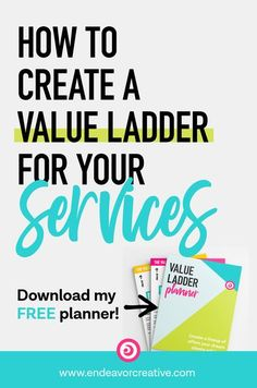 Learn how to use a value ladder to create services offerings that meet your dream clients where they are in their decision-making process. Learn why you need to create a offerings at different levels of price and value in order to establish trust from day one and naturally guide people toward your premium offers. PLUS, grab my free Value Ladder Planner to help you create your lineup of offers to attract more clients! #ValueLadder #ClientAttraction #Freelance #Solopreneur #MarketingFunnel Twitter For Business, Start Up Business, Business Tips, Online Business, Online Marketing Strategies, Marketing Tactics, Content Marketing, How To Get Clients, Marketing Calendar