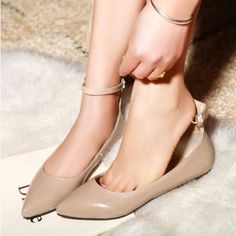 >> Click to Buy << Wholesale New Fashion Womens Sweet Pointed Toe Shoes Flats For Woman Casual Dating Ankle Strap Candy Shoes Plus Size Free Ship #Affiliate