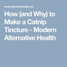 How (and Why) to Make a Catnip Tincture - Modern Alternative Health