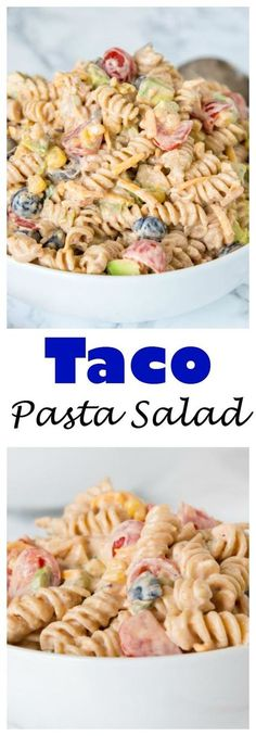 Taco Pasta Salad – a creamy pasta salad with all your favorite taco toppings! Gr… Taco Pasta Salad – a creamy pasta salad with all your favorite taco toppings! Great to make ahead and have in the fridge for dinner or to take to any get together. Mexican Food Recipes, New Recipes, Dinner Recipes, Cooking Recipes, Healthy Recipes, Recipies, Recipes For Salads, Taco Ideas For Dinner, Salads For Dinner