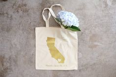 Custom Gold California Wedding Guest Totes - Map Totes - Anthony & Stork