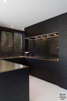 Grey Kitchen Designs, Kitchen Room Design, Contemporary Kitchen Design, Home Decor Kitchen, Interior Design Kitchen, Black Kitchens, Home Kitchens, Modern Kitchen Cabinets, Cuisines Design