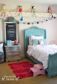 Fun little girl's room - include tutorial for lots of DIY projects found in the room!