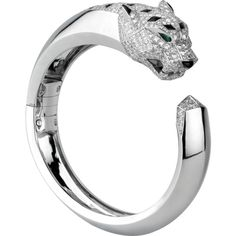 Panthère de Cartier bracelet White gold, diamonds, emeralds, onyx (€96.470) ❤ liked on Polyvore featuring jewelry, bracelets, white gold diamond bangle, white gold jewelry, emerald jewellery, diamond bangles and onyx bangle