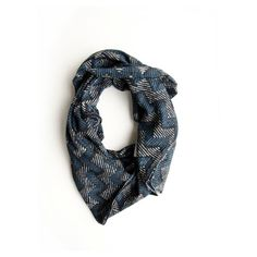 Spring Blue Black Hand Dyed Indigo Scarf - Block Printed with natural dyes Cotton Scarf, for women, Accessories, Gift Ideas - Waves on Etsy, $40.00