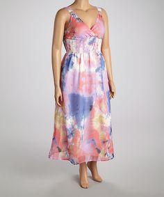Look what I found on #zulily! Pink & Blue Beaded Empire-Waist Maxi Dress #zulilyfinds