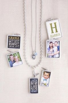Jewel Kade photo charms with poetry canvas backings.  Personalize your jewelry with those most important to you.