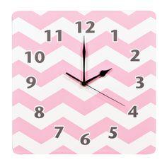 "Pink Sky 11"" Chevron Wall Clock"