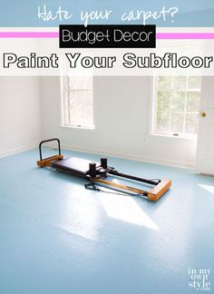How to Paint Subfloor - with great ideas about saw marks and carpet edges. no electric saw used