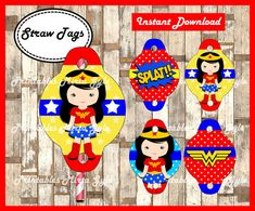 Wonder Woman Straw Tags printable Wonder by PrintablesMirtaGyle