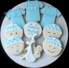 Decorated Personalized Baby Shower Cookies- Onesies and Baby Faces Great Gift or Favors