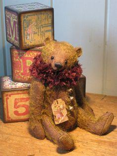 vintage teddy bear and blocks