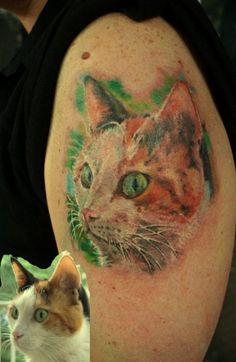 Watercolor cat tattoo - beautiful!