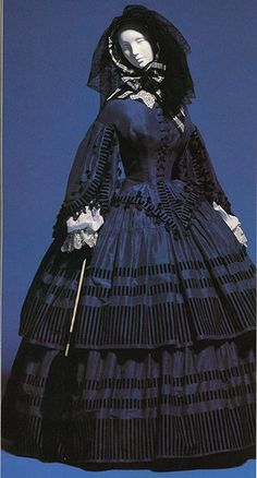 Midnight blue day dress, 1850s-1860s. Russian