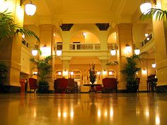 Impressive grand lobby of Post Rice Lofts in Houston.