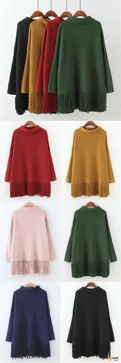 US$38.39 + Free shipping. Color: Black, Green, Navy, Pink, Red, Yellow. Fall in love with casual and warm style! Plus Size Casual Women Tassel Hem Sweaters. #sweaters #outfits #winter #clothes #fashion
