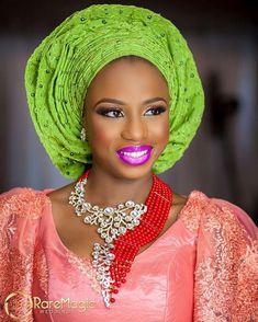 on www.bellanaija.com/weddings right now! @kemionabanjo is a stunner in her second look for the #BiggestWeddingShootEver!  Jewelry/Styling: @gbengaartsmith  Photography: @raremagic_gallery  Coral fabric: @remio.fabrics  Dress: @teethreads  Asooke: @depeju_tribesasooke  Makeup/Gele: @doyinadunfe