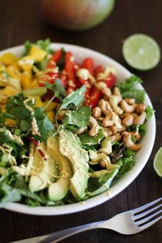 Chopped Thai Salad with Curry Coconut Dressing | TheRoastedRoot.net #healthy #dinner #recipe