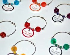 Home made wine charms.  Perfect for hosting a party!